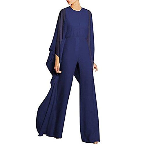 Cytree Damen Langarm beiläufiger Jumpsuit breiter Bein Chiffon Festlich Party Overall Lang Hosen Blau L (Gala-abschlussball-kleid Der)