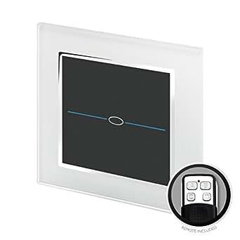 retrotouch rts2020 designer lichtschalter 1 fach touch einzelschaltung mit fernbedienung wei. Black Bedroom Furniture Sets. Home Design Ideas
