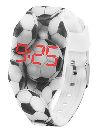 Reloj LED Digital Chico se Ilumina en la Oscuridad, Infantil y Joven, de Pulsera, Correa de Suave Silicona, Trendy Regalo, Futbol, Kiddus KI10216