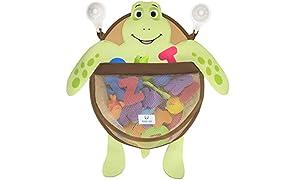 Nooni Care Organizzatore Conservare i Giocattoli del Bagnetto, Sacca a Rete da Bagno Premium per Giocattoli a Forma di Tortaruga Grasso, con Due Ventose Resistenti