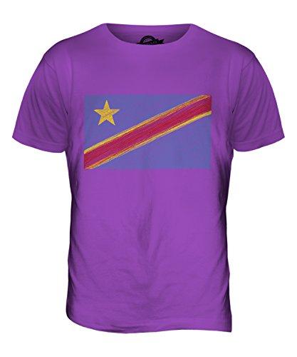 CandyMix Demokratische Republik Kongo Kritzelte Flagge Herren T Shirt Violett