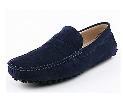 Men's Minitoo rayures Multicolore chaud Chaussons mocassins en daim pour chaussures bateau Loafers, Bleu - bleu, 44.5 EU