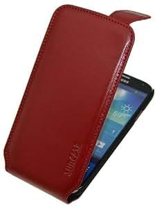 Suncase Premium Flipstyle Ledertasche für das Samsung Galaxy S4 i9505 vollnarbig-rot