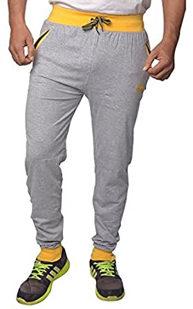 Finger's Men's Cotton Ribbed Track Pants With Zipper Pockets (34, Melange Grey-Light Yellow)