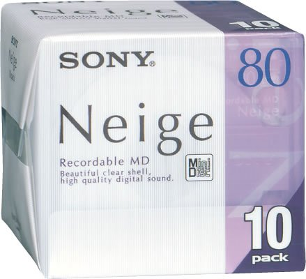 SONY MD80 Minidisc Neige 80 Min. 10 Pack