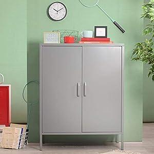 Yata Home Buffet Schrank Kommode Aufbewahrungsschrank aus Metall Stahl Türen Griffregale 3 Türen Schuhschrank für Zuhause Büro Küche Küche 31,5 x 15,7 x 40,2 in grau