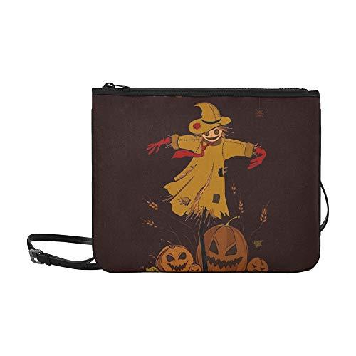 WYYWCY Happy Halloween Vogelscheuche Stroh Kopf Hexe Benutzerdefinierte hochwertige Nylon Slim Clutch Cross Body Bag Umhängetasche