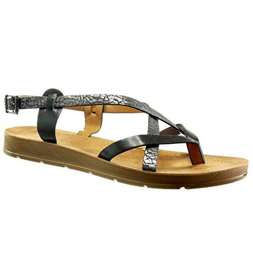 Angkorly - Scarpe da Moda sandali zeppe donna borchiati legno