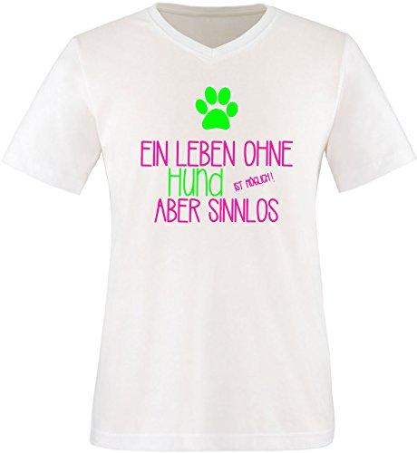 EZYshirt® Ein Leben ohne Hund ist möglich ! Aber sinnlos Herren V-Neck T-Shirt Weiss/Pink/Neongr