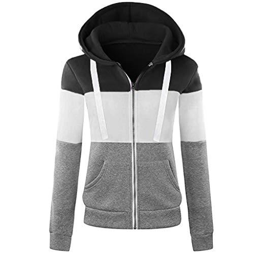 Xuthuly Damen Sweatjacke Hoodie Sweatshirt Pullover Oberteile Kapuzenpullover V Ausschnitt Patchwork Pulli mit Kordel und Zip