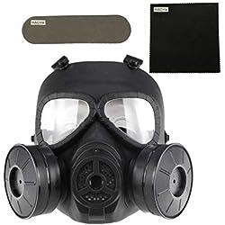 Masque à gaz anti-buée avec double ventilateur MO4 Masque de protection pour Airsoft Paintbal, noir
