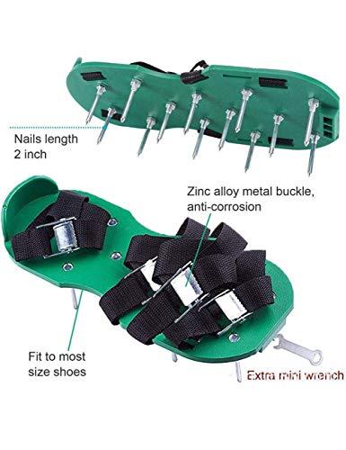 Uthome Belüfter Garten Rasen-Luftsprudler, Spike-Schuhe, Sandalen, mit Riemen, robust, verstellbar, 4-Zinken für effektive Erdbelüftung, mit Metallschnallen, Einheitsgröße, passt allen
