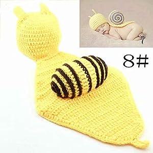 Lindo de la para bebé Atrezzo fotografía del recién nacido hecho a mano de ganchillo Beanie Hat ropa de bebé 2