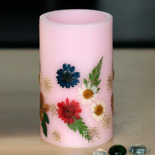DFL Floweratencia de transición electrónico Led sin llama vela pilar con temporizador, funciona con 2 C pilas, diseño de flores en relieve custom