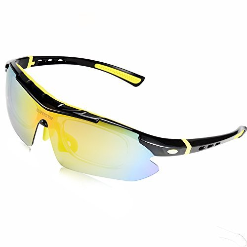 Supertrip polarizzati occhiali da sole sportivi ciclismo occhiali con 5lenti intercambiabili, unisex, black-yellow