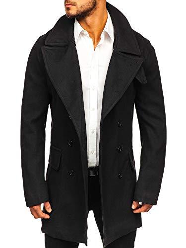BOLF Herren Mantel Wintermantel Lang Coat Knöpfbar Zweireihiger J.Boyz 1048 Schwarz L [4D4]