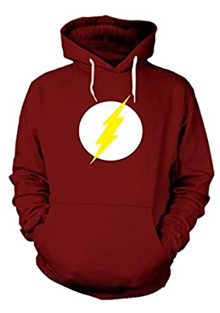 Enquotism Red Cotton Graphic Hoodie Flash Gordon Red (Small, Red)