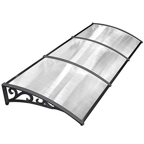 41NWcwSjggL - MVPOWER Marquesina para Puertas y Ventanas Tejadillo de Protección Toldo Cubierta de Policarbonato en Jardín al Aire Libre Dosel de Techo (Color Negro, 270*98.5cm)