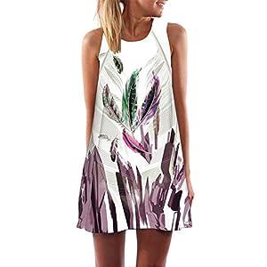 YCQUE Vintage Tägliche Dame Mode Boho Lässige Retro Frauen Lose Weiche Sommer Sleeveless 3D Blumendruck Strand Oansatz…
