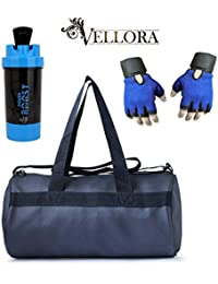 VELLORA Soft Leather Duffel Gym Bag (Black) With Power Boost Shaker, Gym Shaker Bottle And Blue Netted Gym & Fitness...