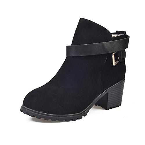 taottao Winter Frauen Mid hochhackige Martin Stiefel Outdoor Schnalle Knöchel Stiefel niedrig Keil Beute STILVOLL und Street Snap Schuhe, schwarz, 39 (Niedriger Bootie)