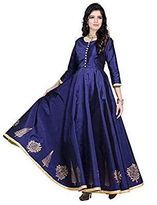 BEST Designer Party Wear Silk Kurtis For Womens LATEST Bollywood Gown Style New Design Kurti For Ladies - HEAVY Work Long Anarkali Fancy Dress For 20 Years Girls