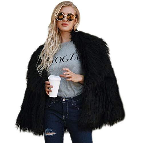 Biback Mujer Invierno Abrigo Piel Sintética, Chaqueta Mujeres Shaggy Faux Fur Coat Outwear Otoño e InviernoF0001 Piel sintética Una Chaqueta Abrigada Abrigo de Mujer