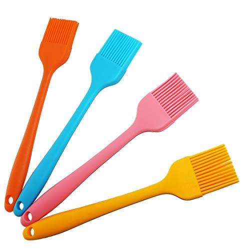 Silikon Pinsel, 21cm(4er Pack, Bunte), Backpinsel, Grillpinsel, Hitzebeständige, Weich und Langlebiges, Perfekt für BBQ, Backen, Kochen