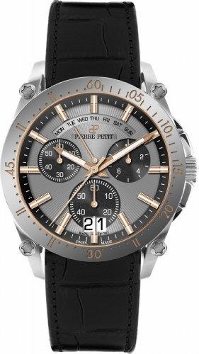 Pierre Petit Le Mans P-792B - Reloj cronógrafo de cuarzo para hombre, correa de cuero color negro