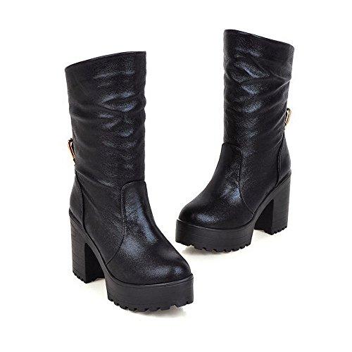 AgooLar Damen Blend-Materialien Ziehen auf Hoher Absatz Niedrig-Spitze Stiefel, Schwarz, 37