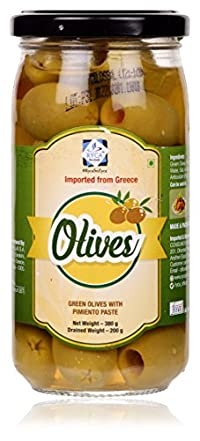 Ryca Green Olives with Pimiento Paste, 380 Grams, Imported from Greece