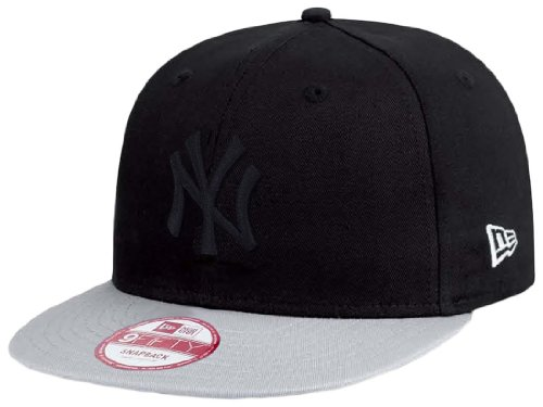 New York NY Yankees MLB Schwarz / Grau Pop Tonal New Era 9Fifty Snapback Adjustable Baseball Cap Große S/M