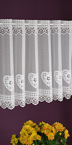 Albani - tenda a pannello su misura, motivo a cuori, stile shabby chic, altezza 45 cm, larghezza 14 cm, colore bianco