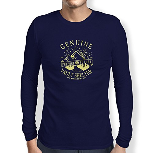 TEXLAB - Genuine Vault Shelter - Herren Langarm T-Shirt, Größe M, navy (Fallout 3 Vault Boy Kostüm)