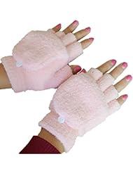 Femmes/filles avec des gants sans doigts Mitten couverture en peluche,rose clair
