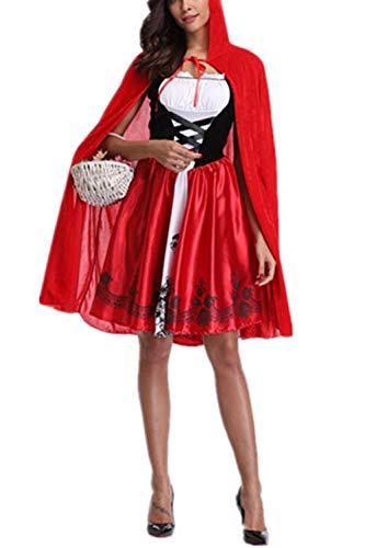 (Zojuyozio Frauen Halloween Rotkäppchen Cosplay Kostüm - Party - Kleid rot XS)