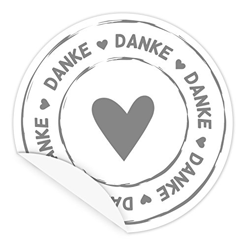 DANKE Aufkleber mit Herz - Sticker für Geschenke, Papiertüten, Folienbeutel - weiß/grau- 5 cm Durchmesser - Qualität aus Deutschland (50 Stk.) (Danke Herz)