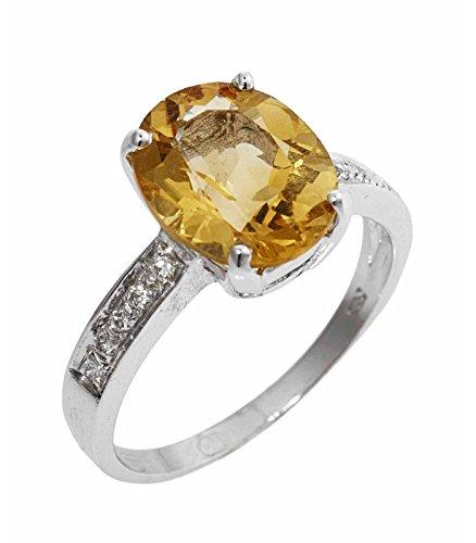 Anello in oro bianco 18k con topazio e diamanti - 13