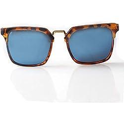 Accessoryo - Braune Schildkrötenschale Wayfarer Sonnenbrille mit blauen und silbernen Revo Linsen