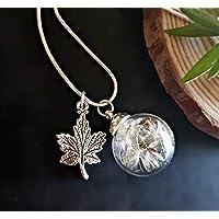 b5fd084711d Feuille d érable pendentif Chaîne ARGENT STERLING collier de pissenlit et  boîte-cadeau -