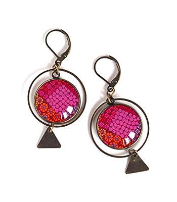 Boucles d'oreilles cabochon, Couleur rouge fushia orange, Inspiration Inde
