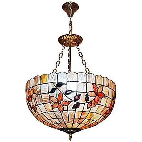 Kai 120W Classic-Lampada a sospensione, con motivo Tiffany natura Materiale