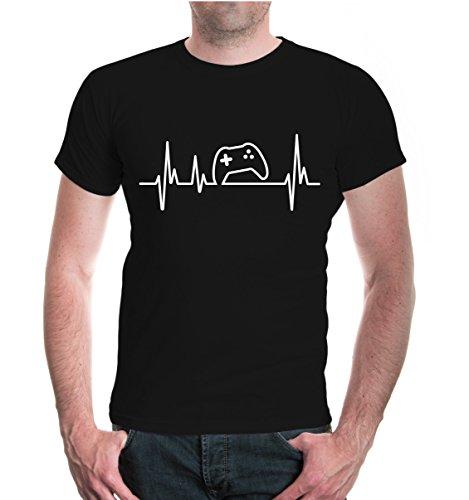 buXsbaum® T-Shirt Frequenz-Game-Controller Black-White
