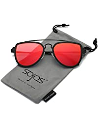 SOJOS Fashion Aviator Unisex Sunglasses Flat Mirrored Lens Double Bridge SJ1051