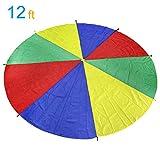 LEADSTAR Juego De Paracaídas de Color para Niños Arco Iris Juegos Actividades Deportivas Fiestas Ejercicios en Grupo Al Aire Libre, 12FT (3,6m)
