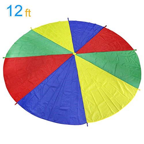 LEADSTAR Kinder Spielen Zelten Fallschirm mit 8 Griffen für Indoor Outdoor, 3,6M (12 Ft) (12 Ft)