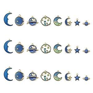 huyiko 24 Stück/Pack Schmuck Zubehör Basteln Niedrige Legierung Öl Kleiner Anhänger Armband Halskette Mond Stern Form Anhänger