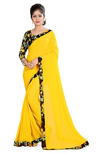 OOMPH! Chiffon Saree With Blouse Piece (rbaf_1383_Butter Yellow_Free Size)