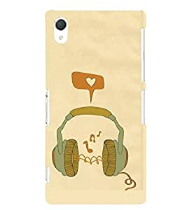 FUSON Green Headphones Vector Illustration 3D Hard Polycarbonate Designer Back Case Cover for Sony Xperia Z2 (5.2 Inches)