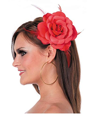 Horror-Shop Haargummi mit roter Rose als Kostümzubehör für Fasching & Motto Party (Braut Sugar Kostüm Skull)